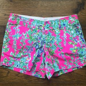 NEW! Lilly Pulitzer Hot Pink Floral shorts. Size 0